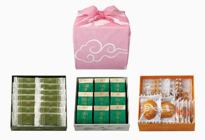 京遊記三段(茶の菓・生茶の菓・楽しみかさね)ピンク風呂敷付