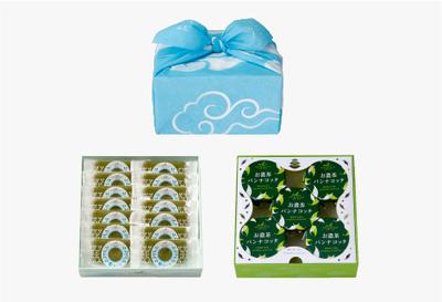 京遊記二段(涼茶の菓・お濃茶パンナコッタ)ブルー風呂敷付